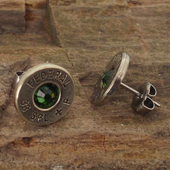 Nickel plated 38 SPL Bullet Earrings - Emerald Green