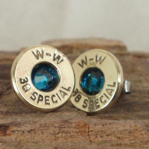 Bullet Earrings - Ultra Thin - Blue Zircon - December Birthstone