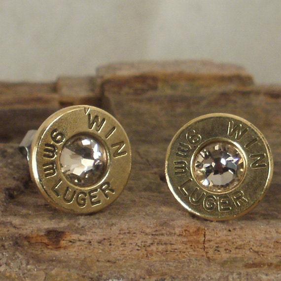 bullet earrings stud earrings ultra thin 9mm luger