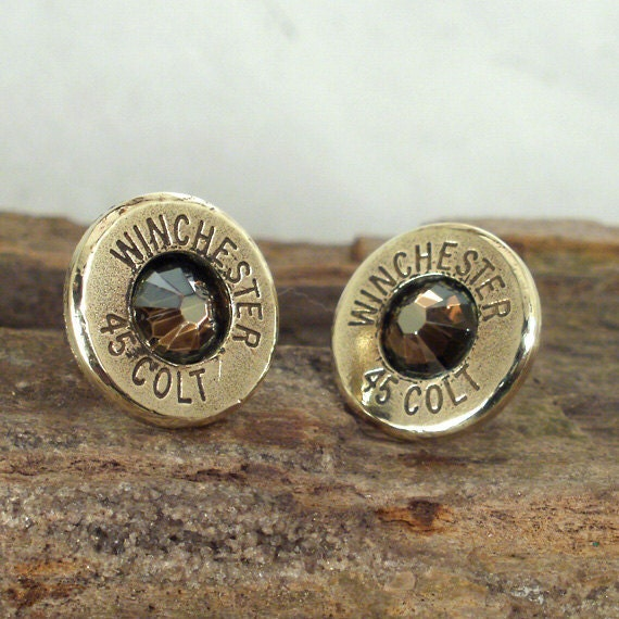 Bullet  Earrings- Stud Earrings - Ultra Thin - Colt 45 - Copperhead