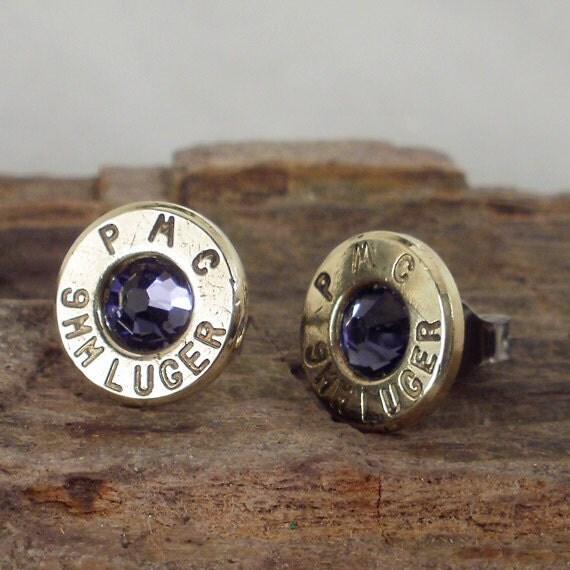 Purple Velvet 9mm Bullet Earrings - Stud Earrings - Ultra Thin - Luger