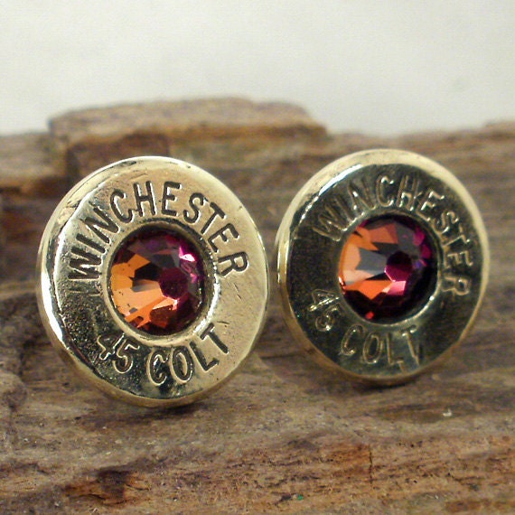 Bullet  Earrings - Stud Earrings - Ultra Thin - Colt 45 - Volcano