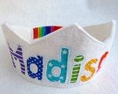 Rainbow Birthday Crown Felt Crown - ORIGINAL STYLE - Noble - Personalized