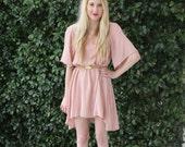 Light pastel Pink Peach Flowy asymmetrical dress large