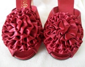 Vintage Burgundy Daniel Green Satin Hostess Shoes or Slippers / Size 7 1/2