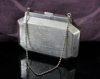SALE Silver Plated Metal Purse and Chain SALE