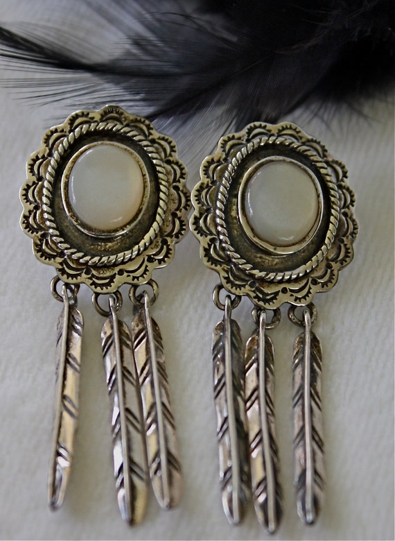 Vintage Silver and White Stone Southwest Style Earrings