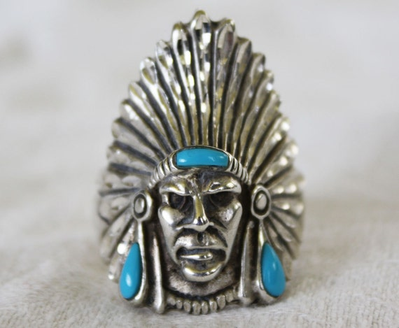 Native American Turquoise Sterling Silver Mens Ring