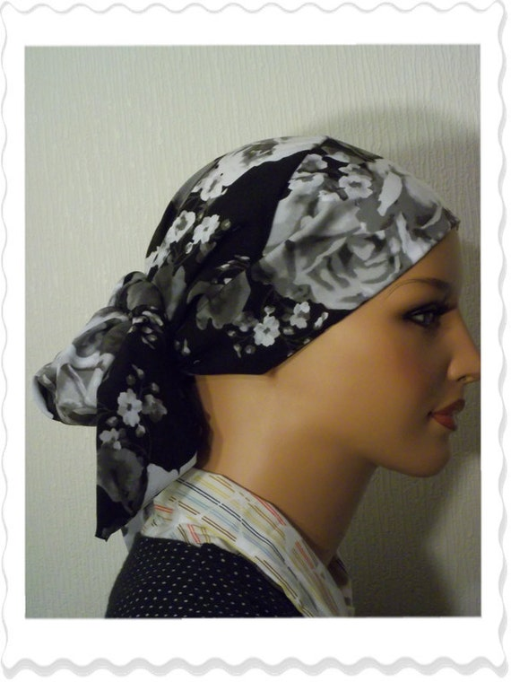 Gorgeous Black and White Rose Snood Tichel Chemo Head Scarf