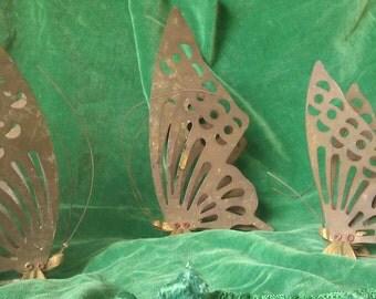 Set of Three Large Farm-Fresh Brass Butterflies