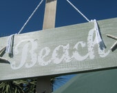 Beach Sign Board in Light Blue with Starfish