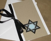 Blank Greeting Card with Star of David in Black and Silver