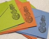 Snowman Flat Notecards - Set of 6 - Green Red Blue