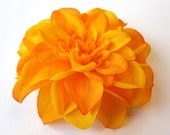 Fabric Flower Hair Accessory: Pin, Hair Clip, or Fascinator - Tangerine Orange Dahlia