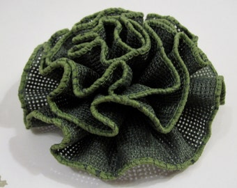Shabby Chic Green Burlap Ruffled Fabric Flower Pin, Hair Clip, Fascinator, or Headband