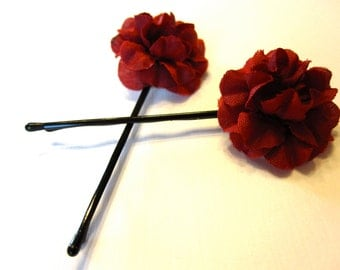 Set of 2 Cranberry Red Fabric Flower Hair Accessories