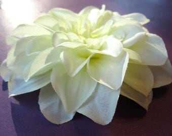 Fabric Flower Hair Accessory: Pin, Hair Clip, or Fascinator - Ivory Dahlia