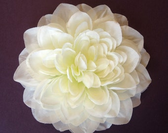 Fabric Flower Hair Accessory: Pin, Hair Clip, or Fascinator - Light Ivory Dahlia - Large