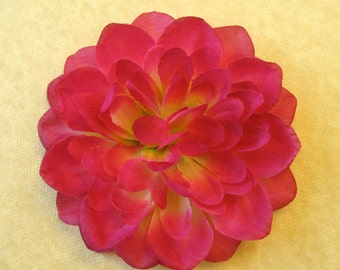 Vibrant Pink Dahlia with Yellow Center - Fabric Flower Hair Accessory or Pin