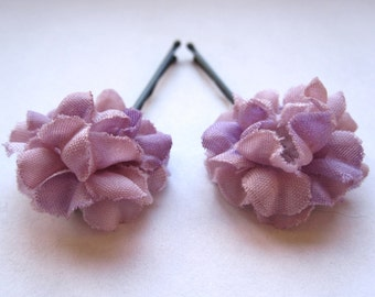 Set of 2 Lilac Purple Fabric Flower Hair Accessories