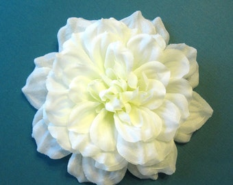 Fabric Flower Accessory: Pin or Hair Clip - Ivory Dahlia