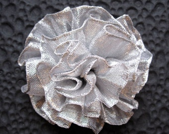Silver Ruffled Fabric Flower Pin, Hair Clip, Fascinator, or Headband - Perfect Accessory or Gift