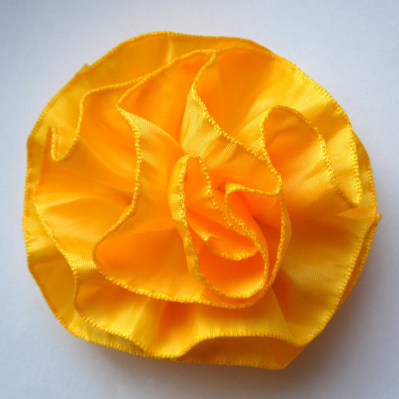 Ruffled Ribbon Flower Hair Accessory, Pin, Brooch, Hair Clip, Headband, or Fascinator - Marigold Yellow Ombre