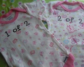Butterflies and flowers just for twins onesies size 0 to 3 months