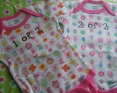 Precious set of onesies for twin girls size 0 to 3 months handmade by gloriously created gifts