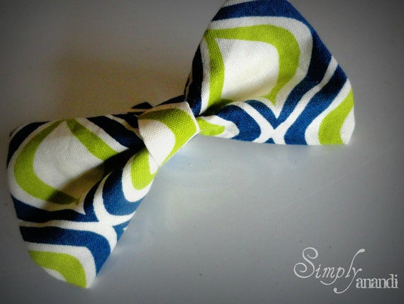 Baby Bow Tie--Spring Bow Tie--Green, Navy and cream Baby Bow Tie