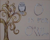 O is for Owl Neutral Original Art Work with Swirly Tree Nursery or Kids Room
