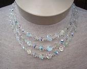 Vintage Crystal Aurora Borealis 3 Tier Necklace