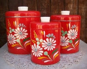 Vintage Hand Painted Ransburg Metal Cannister Set in Red Orange with Flowers Circa 1950's