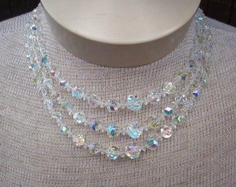 Crystal Aurora Borealis 3 Tier Necklace