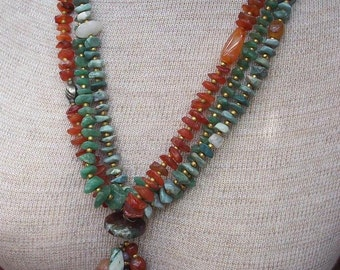 Semi Precious Stones and Brass 3 Strand Necklace with Tassle