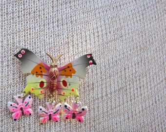 Hand Painted Copper Butterfly with Three Dangling Butterflies  Circa 1960's