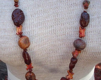 Natural Necklace with Nuts, Seeds and Chicken Bones 1982