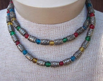 "Metal and Glass Bead 32"" Boho Necklace"