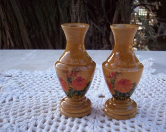 Vintage Malaysian Handpainted Wooden Vases  Circa 1970
