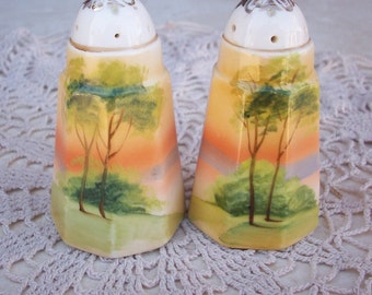 Nippon Hand Painted Porcelain Salt and Pepper Shakers