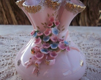 Lefton China Pink Bag Style Vase  ~  Handpainted Lefton Exclusives  ~  Unusual and Hard To Find