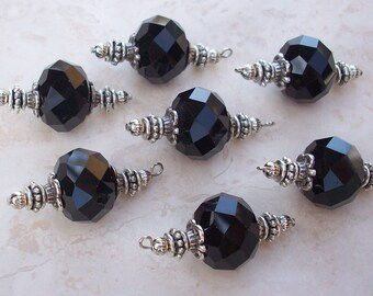 Large Black Glass Multi Faceted Rondel 14x18mm Bead Dangles, Charms, DIY Earrings