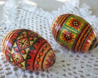 Ukrainian Pysanka Hand Painted Wooden Eggs  Set of 2