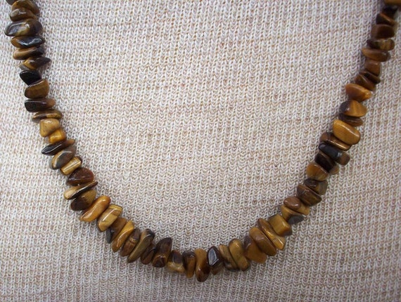 Vintage tiger eye and tortoise shell necklace by for Real tortoise shell jewelry