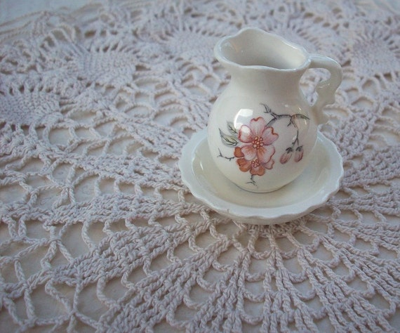 Vintage Shabby Miniature Ceramic Pitcher and Bowl Circa 1976 with Cherry Blossom