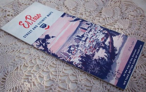 Vintage 1965 El Paso Texas City Street and Vicinity Maps
