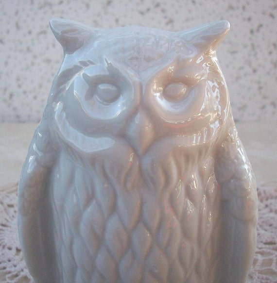 Vintage White Porcelain Owl