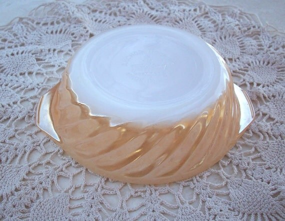 Vintage Fire King Peach Lustre Small Casserole Dish