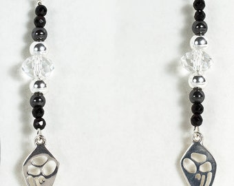 Echidna Print, Onyx, Hematite and Crystal Drop Earrings