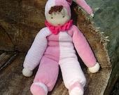 Little Clown Waldorf Doll-Pink-White Stripes-Pale Pink